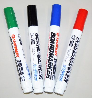 SNOWMAN markers. Dry-erase boardmarkers, alcohol-free, low odour and stocked in blue, green, red and black ink and chisel tip.