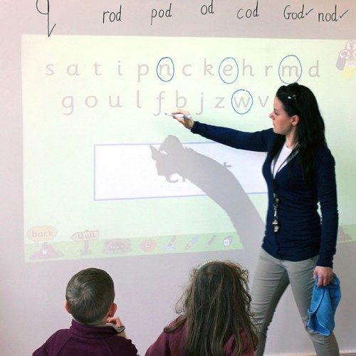 Smart Whiteboard Wallpaper Low Sheen in use in classroom