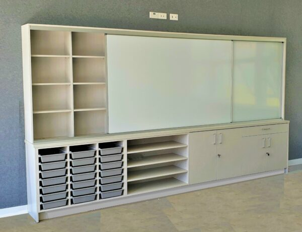 sliding whiteboard cabinet in classroom